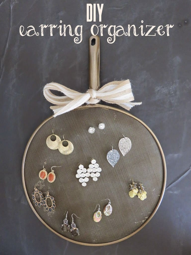 Diy Earring Organizer Made From A Splatter Screen