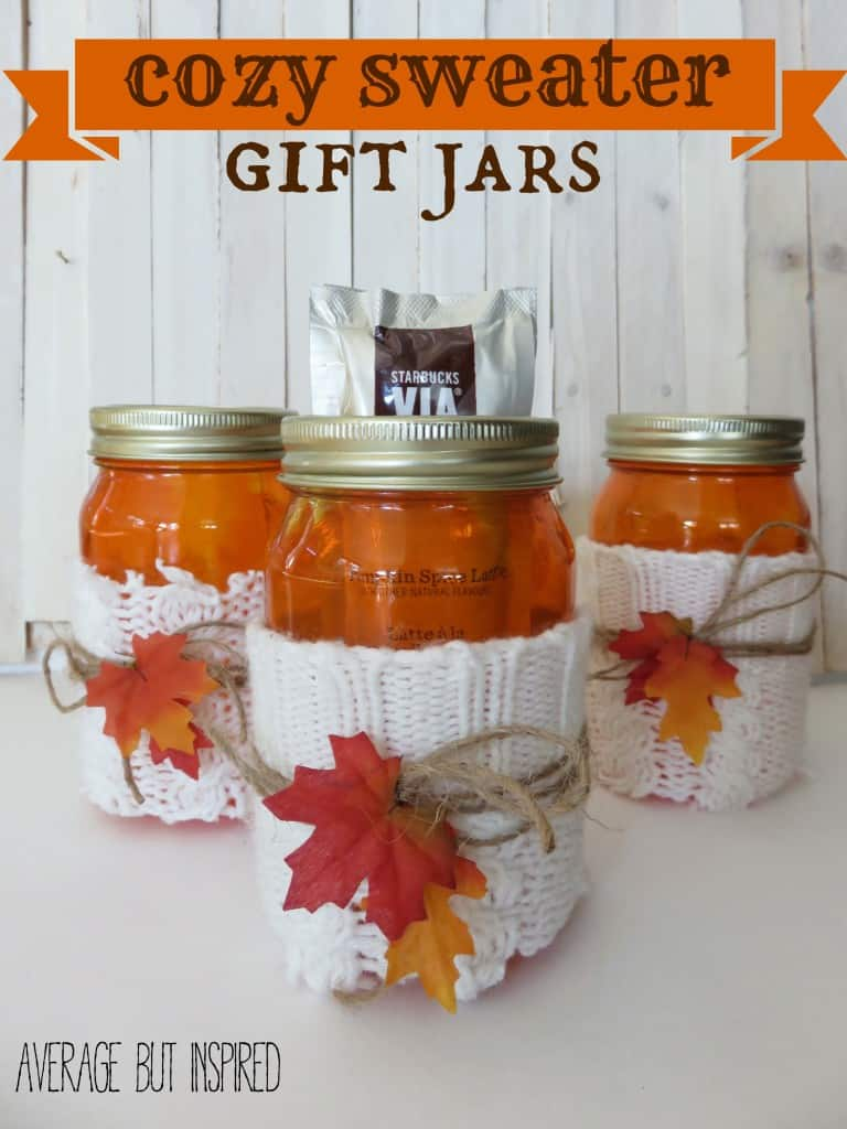These jars were dyed orange, wrapped in sweater remnants and adorned with twine and fall leaves for a cute and cozy look.