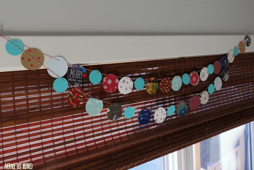 Use leftover Christmas cards to make winter bunting.