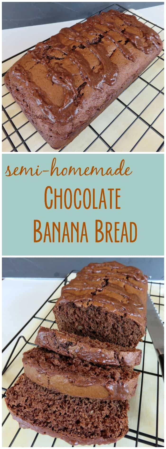 Is it bread or is it cake?  It doesn't matter because it's delicious!  This semi-homemade chocolate banana bread is easy to make and so good!