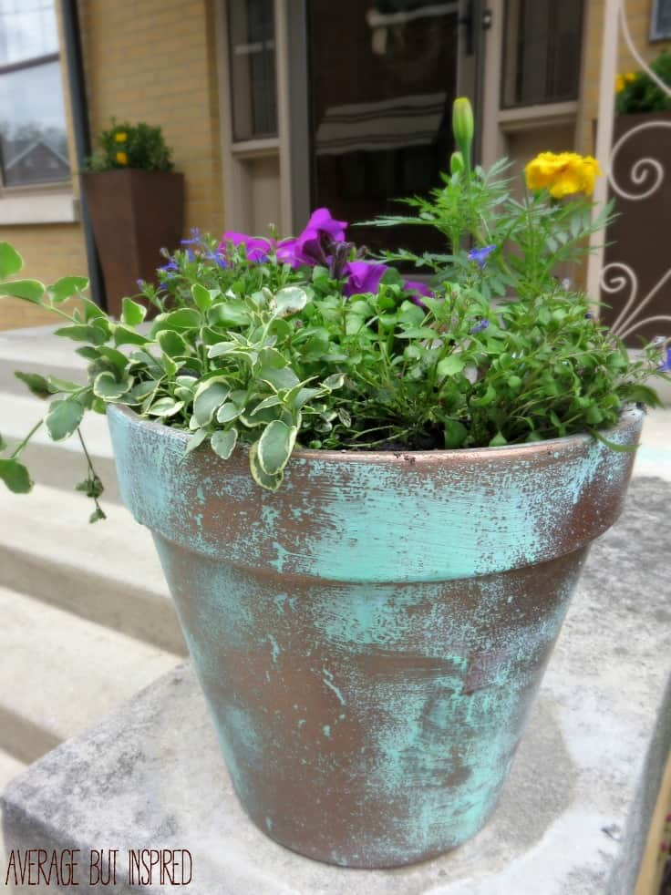 DIY Faux Copper Planters give the look of aged copper at a fraction of the price!