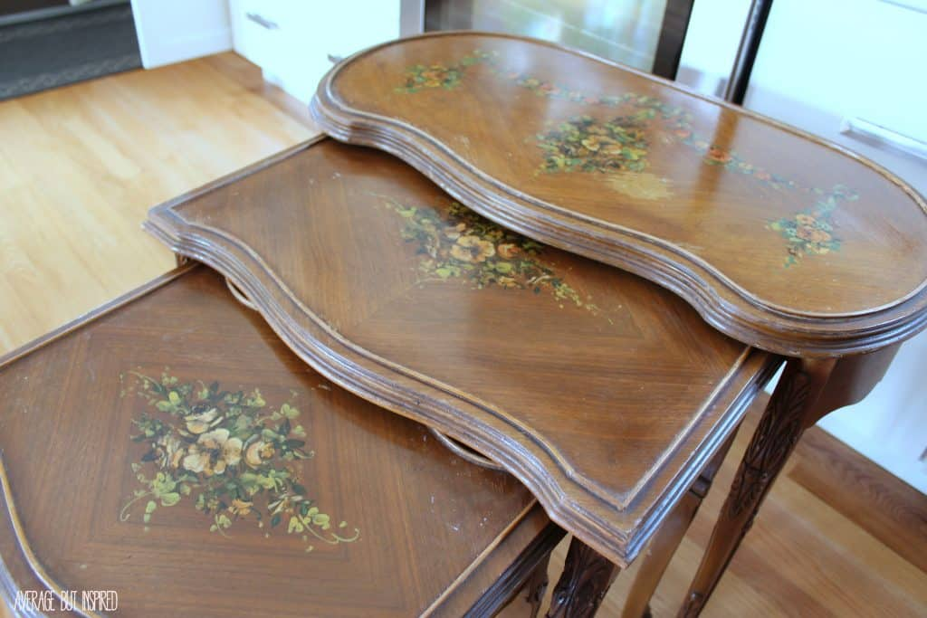 These beautiful nesting tables were refinished with Country Chic Paint in Elegance and dark walnut stain.