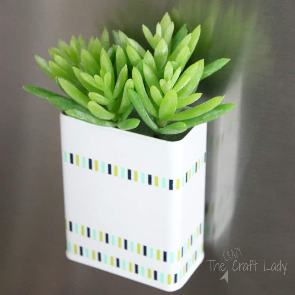 DIY Magnetic Succulent Holder - Florist bucket transformation - a great way to bring the outdoors inside this spring!
