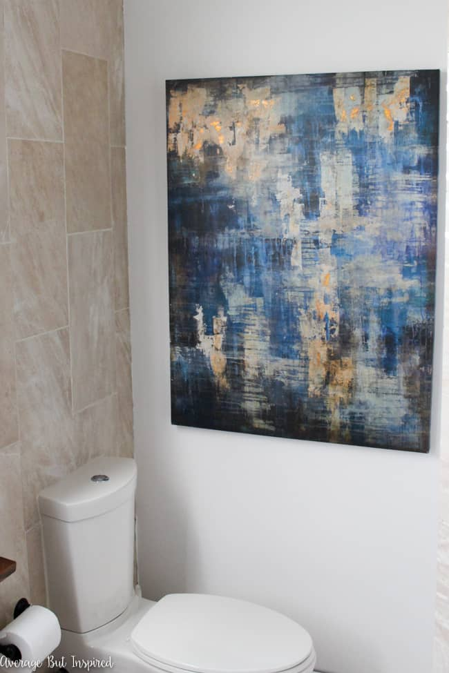 As part of the One Room Challenge this blogger is updating her master bathroom, including beautiful bold art from World Market.